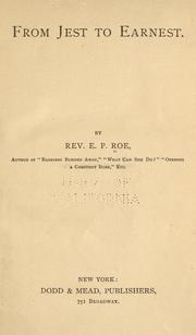 From jest to earnest by Edward Payson Roe