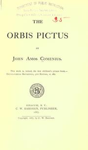 Cover of: The Orbis pictus of John Amos Comenius