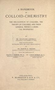 Cover of: A handbook of colloid-chemistry