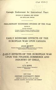 Cover of: Early economic effects of the European war upon Canada