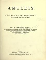 Cover of: Amulets: illustrated by the Egyptian collection in University College, London
