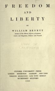 Cover of: Freedom and liberty