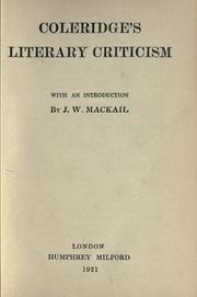 Cover of: Literary criticism: With an introd. by J.W. MacKail.