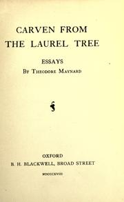 Cover of: Carven from the laurel tree: essays