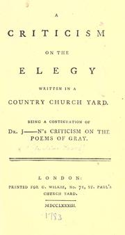 "Cover of: A criticism on ""The elegy written in a country churchyard"""