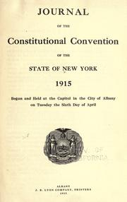 Journal of the Constitutional Convention of the state of New York, 1915 by New York (State). Constitutional Convention