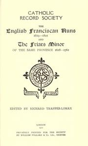 Cover of: The English Franciscan nuns, 1619-1821 | edited by Richard Trappes-Lomax.