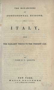 Cover of: Italy, from the earliest period to the present day