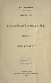 Cover of: Inauguration of Ethelbert Dudley Warfield ..