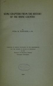 Some chapters from the history of the Rhine country .. by Pletcher, Nuba Mitchel