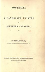 Cover of: Journals of a landscape painter in southern Calabria, & c