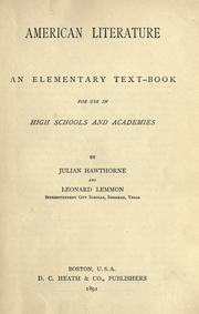 Cover of: American literature: an elementary text-book for use in high schools and academies