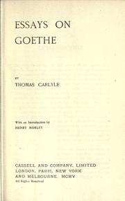 Cover of: Essays on Goethe