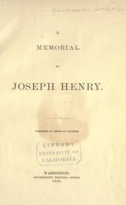 A memorial of Joseph Henry by Smithsonian Institution