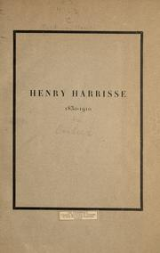 Cover of: Henry Harrisse, 1830-1910