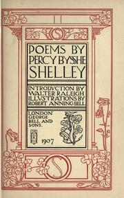 Cover of: Poems By Percy Bysshe Shelley by Percy Bysshe Shelley