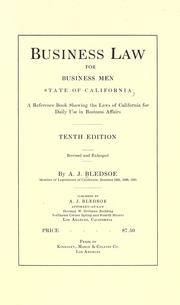 Cover of: Business law for business men, state of California