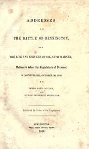 Cover of: Addresses on the battle of Bennington