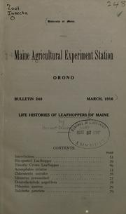 Cover of: Life histories of leafhoppers of Maine
