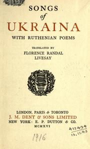 Cover of: Songs of Ukraina, with Ruthenian poems