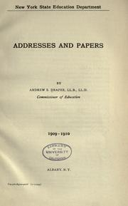 Cover of: Addresses and papers by Andrew S. Draper ..
