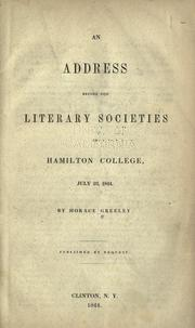 Cover of: An address before the literary societies of Hamilton College
