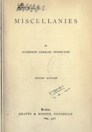 Cover of: Miscellanies