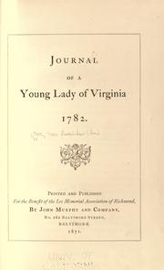 Cover of: Journal of a young lady of Virginia