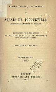 Cover of: Memoir, letters, and remains of Alexis de Tocqueville | Alexis de Tocqueville