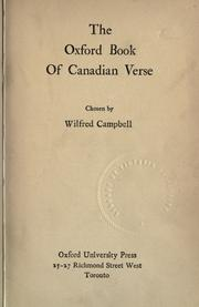 Cover of: The Oxford book of Canadian verse |