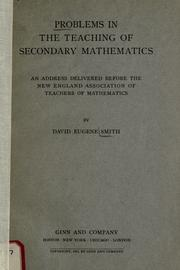 Cover of: Problems in the teaching of secondary mathematics