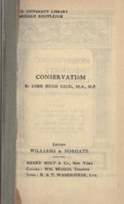 Conservatism by Cecil, Hugh Richard Heathcote Lord