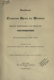 Cover of: Handbook of the courses open to women in British, continental and Canadian  universities