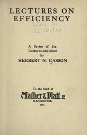 Cover of: Lectures on efficiency