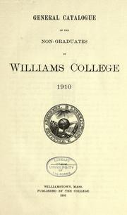 Cover of: General catalogue of the non-graduates of Williams College, 1910. | Williams College.