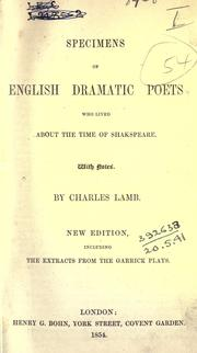 Cover of: Specimens of English dramatic poets, who lived about the time of Shakespeare