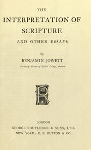 Cover of: The interpretation of Scriptures