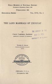 Cover of: The land mammals of Uruguay