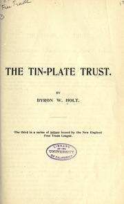 Cover of: The tin-plate trust