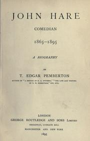 Cover of: John Hare, comedian, 1865-1895