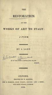 Cover of: The restoration of the works of art to Italy: a poem