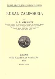 Cover of: Rural California