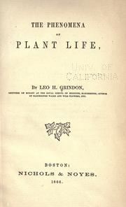 Cover of: The phenomena of plant life