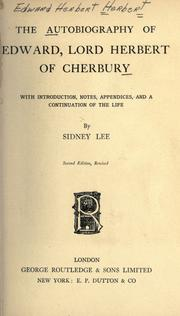 Cover of: An autobiography of Edward, Lord Herbert of Cherbury