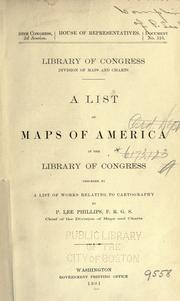 Cover of: A list of maps of America in the Library of Congress | Library of Congress. Division of Maps and Charts.