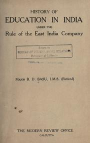 Cover of: History of education in India under the rule of the East India Company