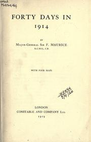 Cover of: Forty days in 1914