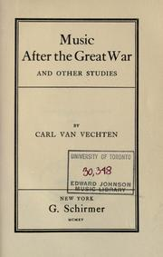 Cover of: Music after the great war, and other studies