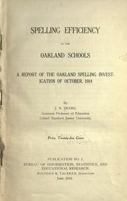 Cover of: Spelling efficiency in the Oakland schools