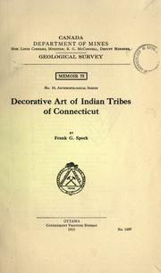 Decorative art of Indian tribes of Connecticut by Frank G. Speck